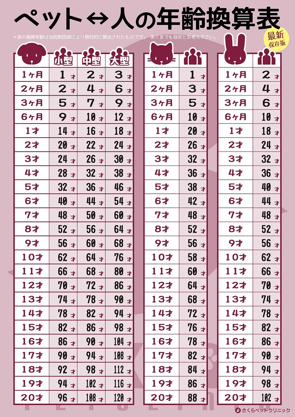 ペット年齢換算表 さくらペットクリニック 動物病院 鹿児島市