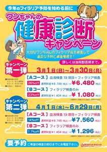 ワンちゃんの健康診断キャンペーン2015チラシ|さくらペットクリニック|動物病院|鹿児島市